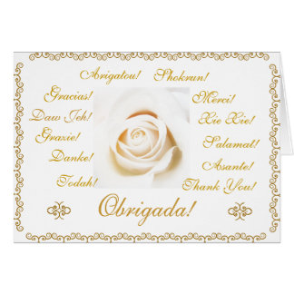 Portuguese: Obrigada! Thank you! 13 languages Stationery Note Card