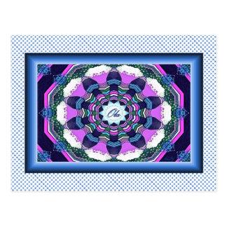 Portuguese Ola Blue Pink Purple Mandala  Postcard