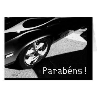 Portuguese: Parabens! / birthday-Carro de corridas Card