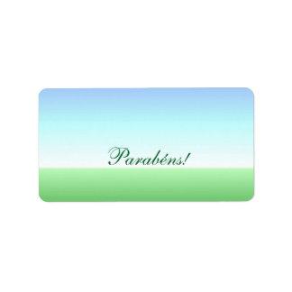 Portuguese Parabéns! Birthday Green Blue Label