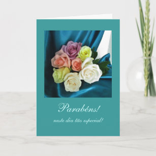 Portuguese Parabens Birthday Teal Card