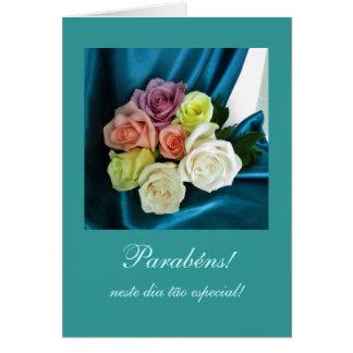 Portuguese: Parabens! / Birthday -teal Card