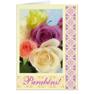 Portuguese: Parabens! Happy Birthday! Greeting Card