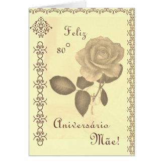 Portuguese: Parabéns mãe / Mom's 80th birthday Cards