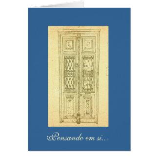 Portuguese: Pensando em si - traditional door Card