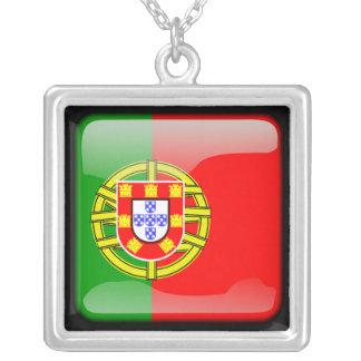 Portuguese polished square pendant necklace