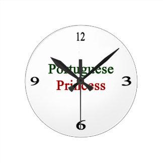 Portuguese Princess Round Clocks
