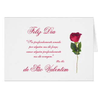 Portuguese: red rose-Valentine's day Card