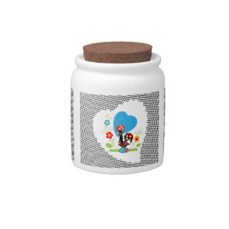 Portuguese Rooster Candy Jar with black polkadots