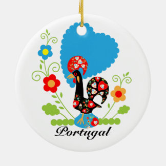 Portuguese Rooster of Luck Ceramic Ornament