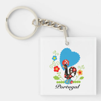Portuguese Rooster of Luck Double-Sided Square Acrylic Keychain