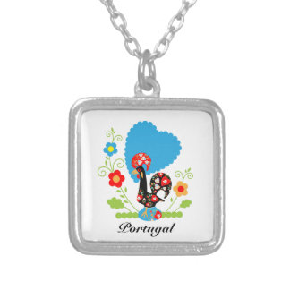 Portuguese Rooster of Luck Square Pendant Necklace