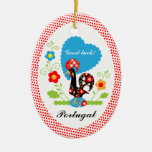 Portuguese Rooster of Luck Double-Sided Oval Ceramic Christmas Ornament