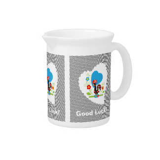 Portuguese Rooster of Luck Pitcher with black dots