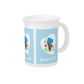 Portuguese Rooster of Luck Pitcher with blue dots