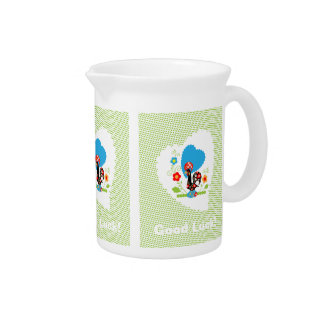 Portuguese Rooster of Luck Pitcher with green dots