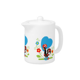 Portuguese rooster of luck tea pot