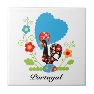 Portuguese Rooster of Luck Small Square Tile