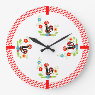 Portuguese Rooster Red Dots Wall Clock