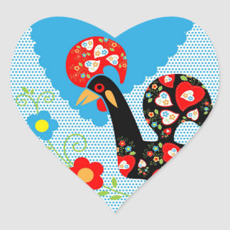 Portuguese Rooster symbol of Portugal Heart Sticker