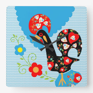 Portuguese Rooster symbol of Portugal Square Wall Clock
