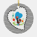 Portuguese Rooster with black polka dots Ornament