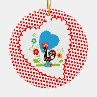 Portuguese Rooster with red polka dots Double-Sided Ceramic Round Christmas Ornament
