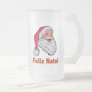 Portuguese Santa Claus Frosted Glass Beer Mug