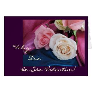Portuguese: São Valentim - seda e rosas Card