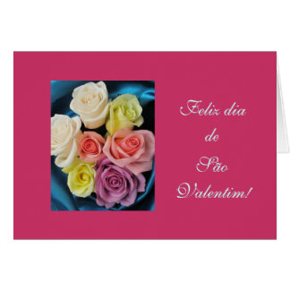 Portuguese: São Valentim Valentine silk & roses hz Card