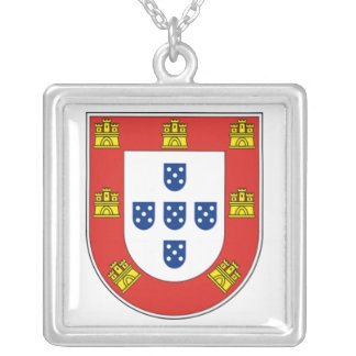 Portuguese shield square pendant necklace
