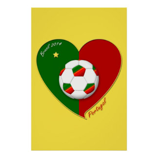 "Portuguese SOCCER Team. Fútbol de  ""PORTUGAL"" 2014 Póster"