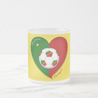 """Portuguese SOCCER Team. Soccer of """"PORTUGAL"""" 2014 Frosted Glass Coffee Mug"""