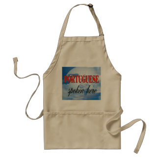 Portuguese spoken here cloudy earth adult apron
