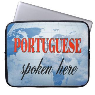 Portuguese spoken here cloudy earth computer sleeve