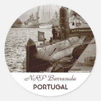 Portuguese submarine NRP Barracuda Round Sticker