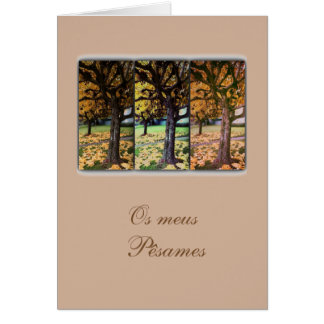 Portuguese sympathy card/condolencias: Fall tree Card