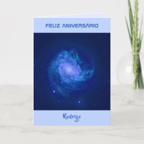 Portuguese text spiral galaxy blue birthday card