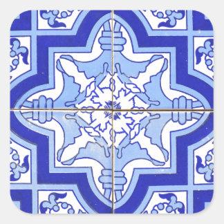 Portuguese Tile Blue and White Square Sticker