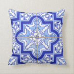 "Portuguese Tile Patio pillow blue Azulejos<br><div class=""desc"">An authentic,  Portuguese patio tile graces this summer-ready pillow. Clean blue and white lines go great with yellow,  coral or green accents!</div>"