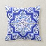 Portuguese Tile Patio pillow blue Azulejos