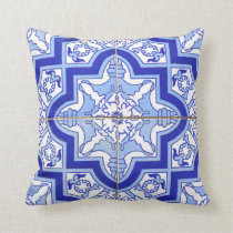Portuguese Tile Patio pillow blue Azulejos