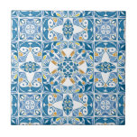 """Portuguese Tile Pattern<br><div class=""""desc"""">Seamless pattern illustration in blue yellow and orange - like Portuguese tiles &#169; and &#174; Bigstock&#174; - All Rights Reserved.</div>"""