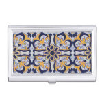 Portuguese tile pattern case for business cards