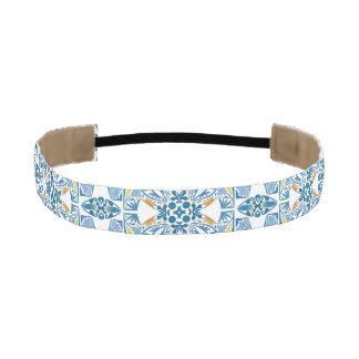Portuguese Tile Pattern Elastic Headbands