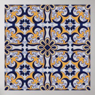 Portuguese tile pattern poster