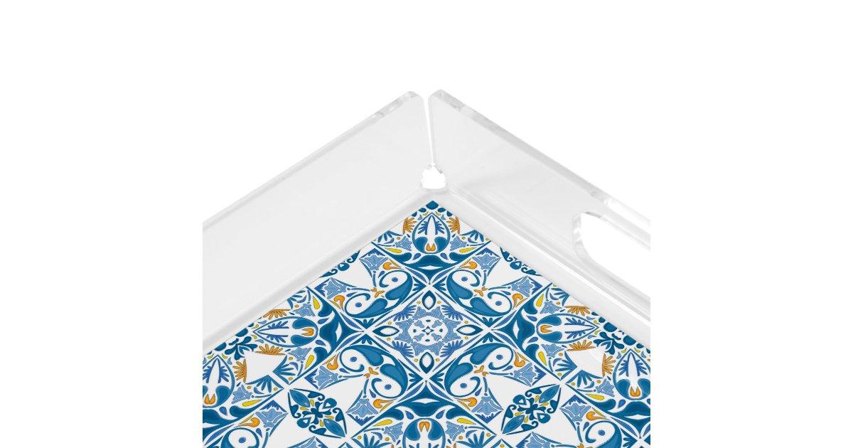 Portuguese Tile Pattern Serving Tray Zazzle