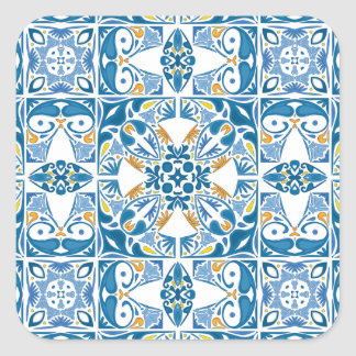 Portuguese Tile Pattern Square Sticker