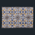 """Portuguese tile pattern towel<br><div class=""""desc"""">Portuguese tile pattern design with blue,  white and yellow floral decoration</div>"""