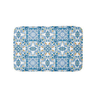 Portuguese Tile Pattern Bath Mats